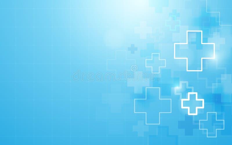 Medicina de la forma y fondo cruzados médicos geométricos abstractos del concepto de la ciencia ilustración del vector