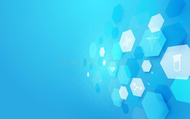 Medicina de la forma y fondo geométricos abstractos del concepto de la ciencia Iconos médicos libre illustration