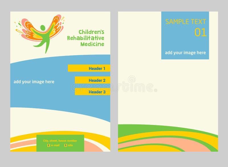 Medicina de la rehabilitación de los niños Aviador y logotipo del vector que representa la silueta de un niño sano, feliz ilustración del vector