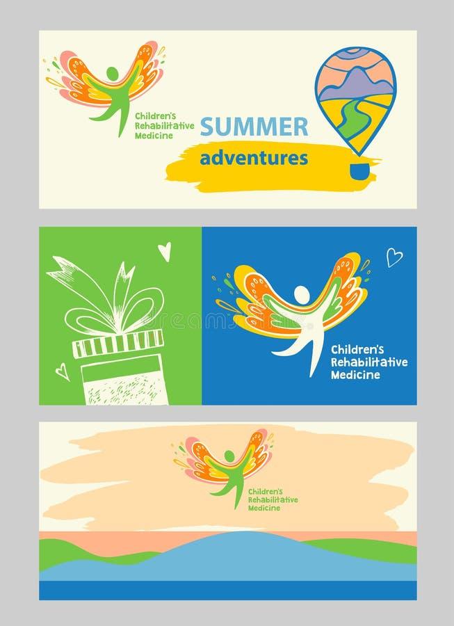 Medicina de la rehabilitación de los niños Bandera de Internet y logotipo del vector que representa la silueta de un niño sano, f stock de ilustración