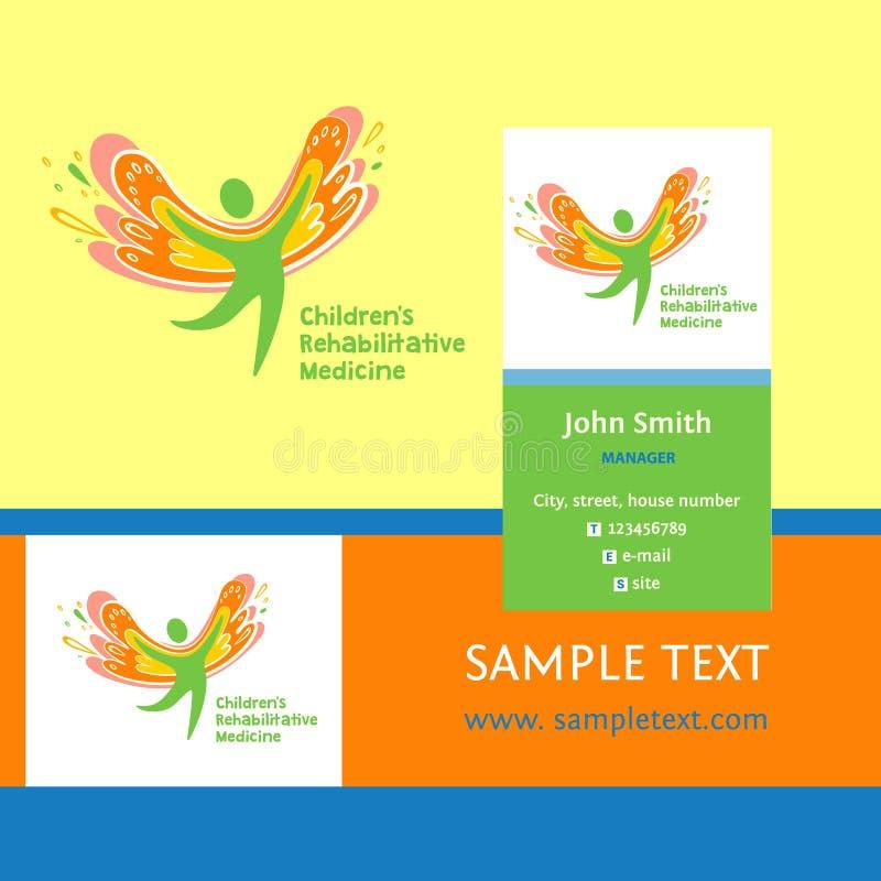 Medicina de la rehabilitación de los niños Tarjeta de visita y logotipo del vector que representa la silueta de un niño sano, fel ilustración del vector