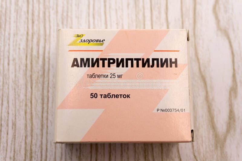 Medicina del Amitriptyline en el paquete de la tableta - Rusia Berezniki 24 de abril de 2018 fotografía de archivo libre de regalías