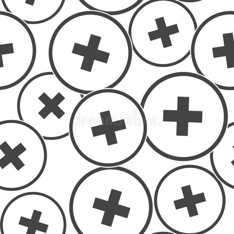 Medicina del hospital del icono del vector Ejemplo cruzado médico en un modelo inconsútil del círculo en un fondo blanco libre illustration