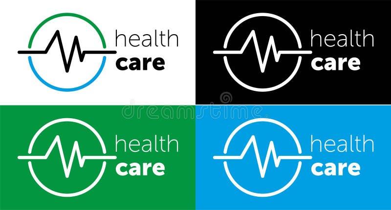 medicina del logotipo atención sanitaria del logotipo para el centro médico Ilustraci?n del vector icono azul del color stock de ilustración