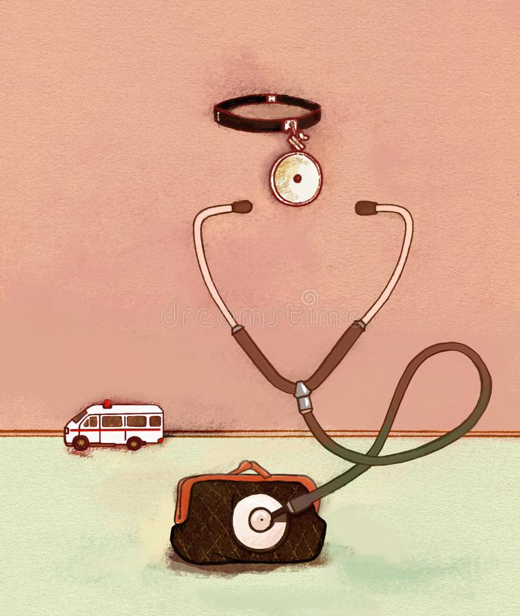 Medicina del seguro El estetoscopio del terapeuta fastidia una cartera ambulancia En un fondo texturizado del papel de la acuarel stock de ilustración