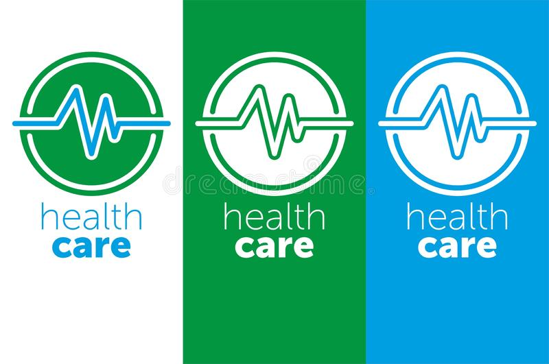 medicina di logo sanità di logo per il centro medico Illustrazione di vettore icona blu di colore illustrazione vettoriale