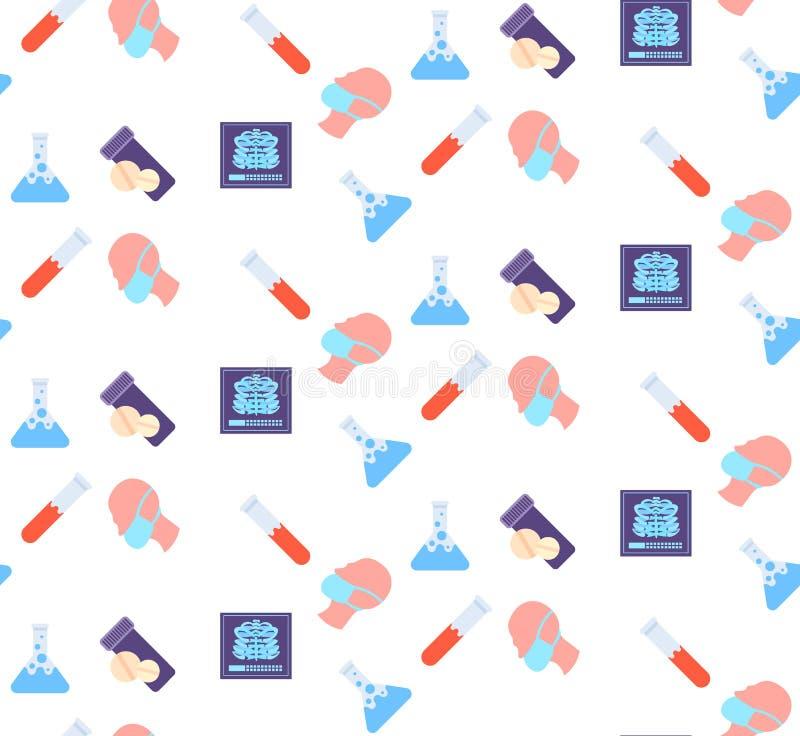 Medicina di logo di servizio medico di sanità dell'icona dei raggi x della gabbia di costole della maschera del respiratore della illustrazione di stock