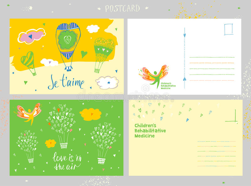 Medicina di riabilitazione dei bambini Cartolina di congratulazione e logo di vettore che descrive la siluetta di un sano, felice royalty illustrazione gratis