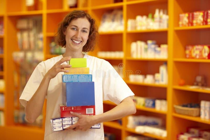 Medicina di trasporto della donna fotografia stock libera da diritti