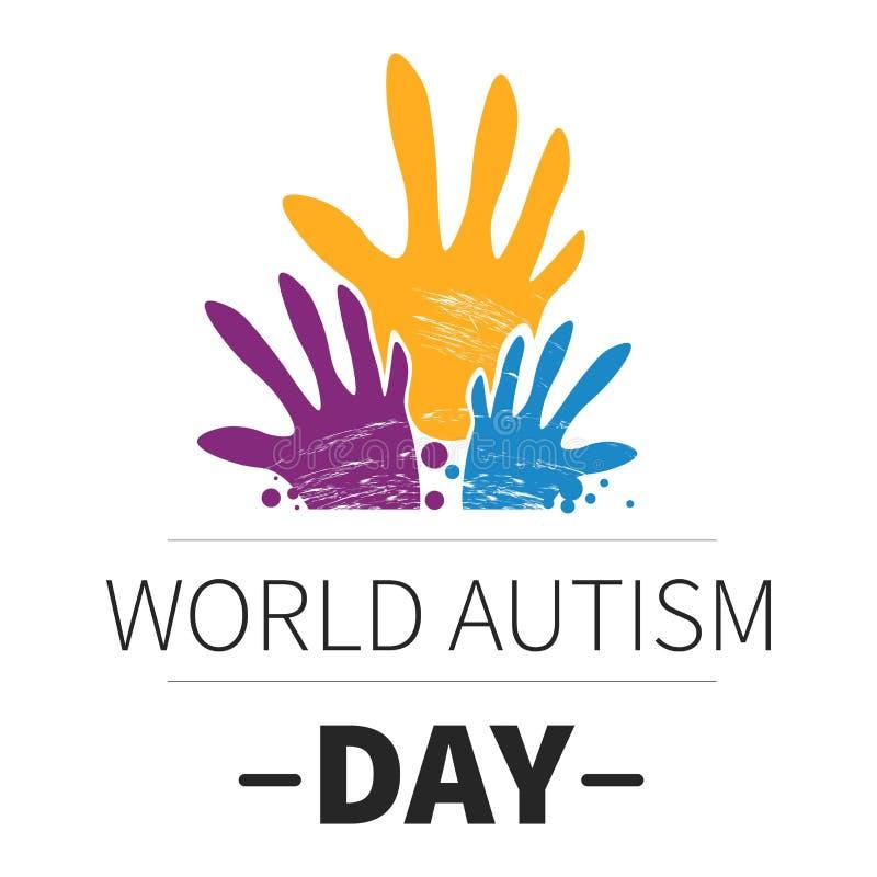 Medicina do dia do autismo do mundo e emblema isolado da saúde mental ilustração do vetor
