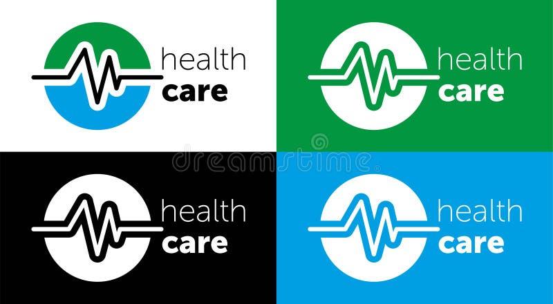 medicina do logotipo cuidados médicos do logotipo para o centro médico Ilustra??o do vetor ícone azul da cor ilustração stock