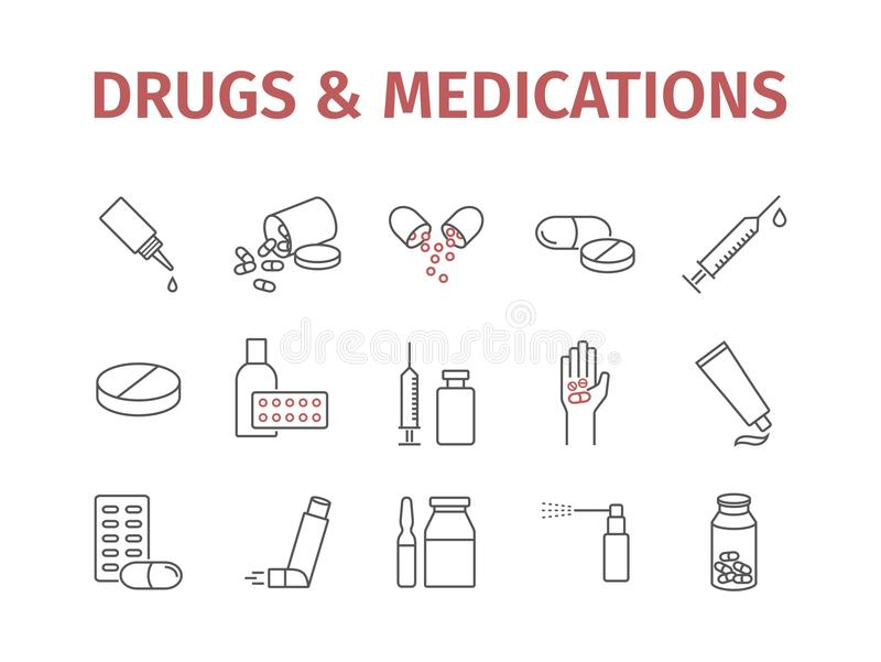 A medicina droga comprimidos Linha de subministros médicos ícones ajustados Vector o sinal ilustração do vetor