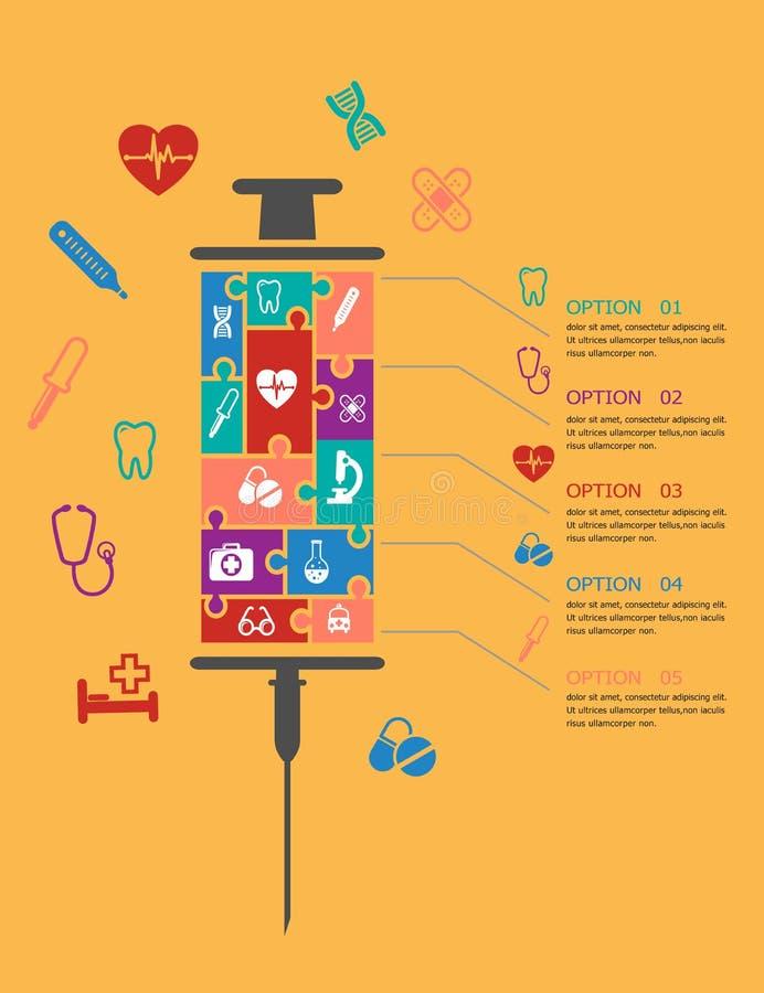 Medicina e cuidados médicos infographic ilustração royalty free