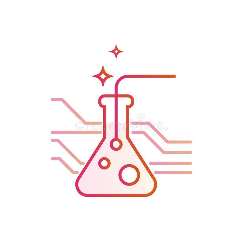 Medicina e farmácia do desenvolvimento da química Linha ilustração do conceito do vetor isolada no fundo branco ilustração royalty free