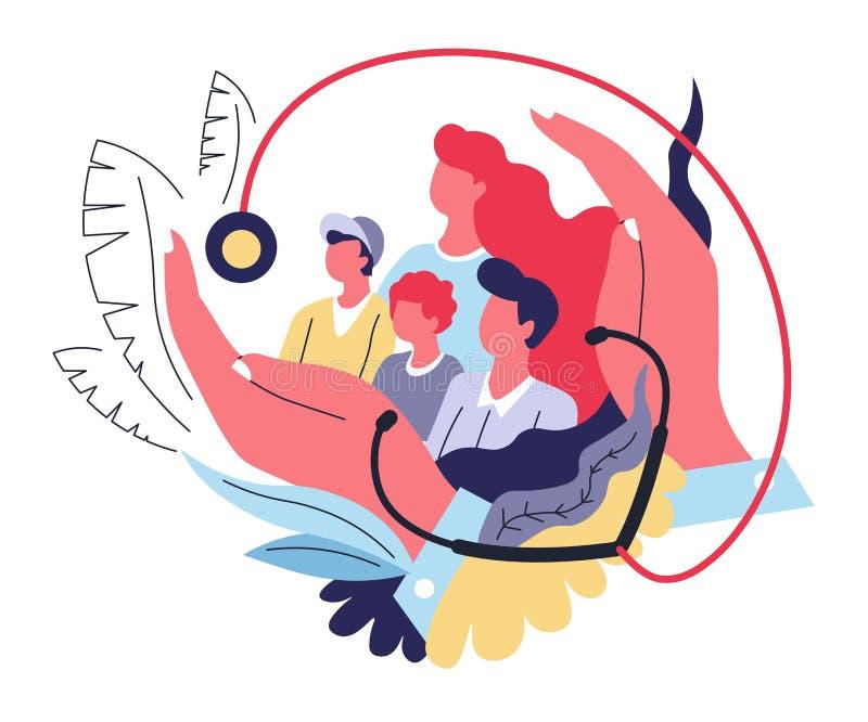 Medicina e sanità astratte di concetto di assicurazione-malattia della famiglia illustrazione di stock
