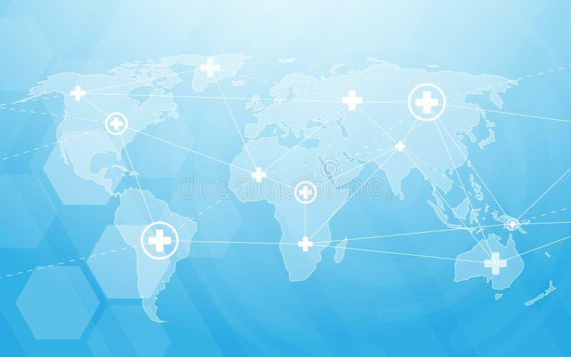 Medicina e scienza con la mappa di mondo Ciao esagoni digitali astratti di tecnologia su fondo blu royalty illustrazione gratis
