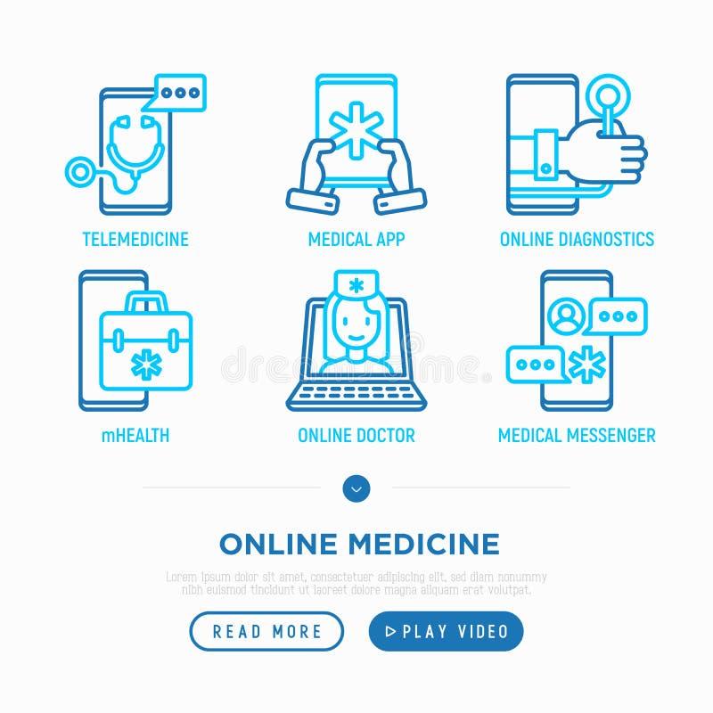 Medicina em linha, linha fina grupo da telemedicina dos ícones ilustração royalty free