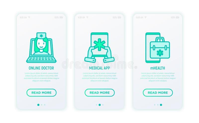 Medicina em linha, telemedicina, ícones médicos do app ilustração do vetor