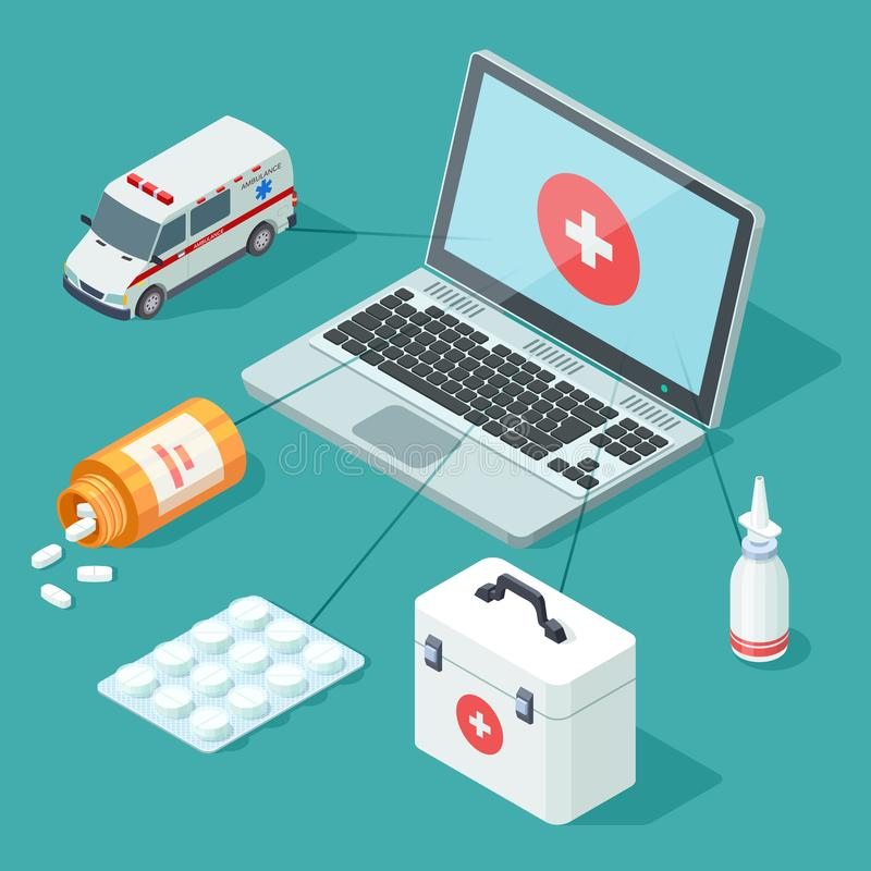 Medicina en línea isométrica Ejemplo del vector de los primeros auxilios médicos, ilustración del vector