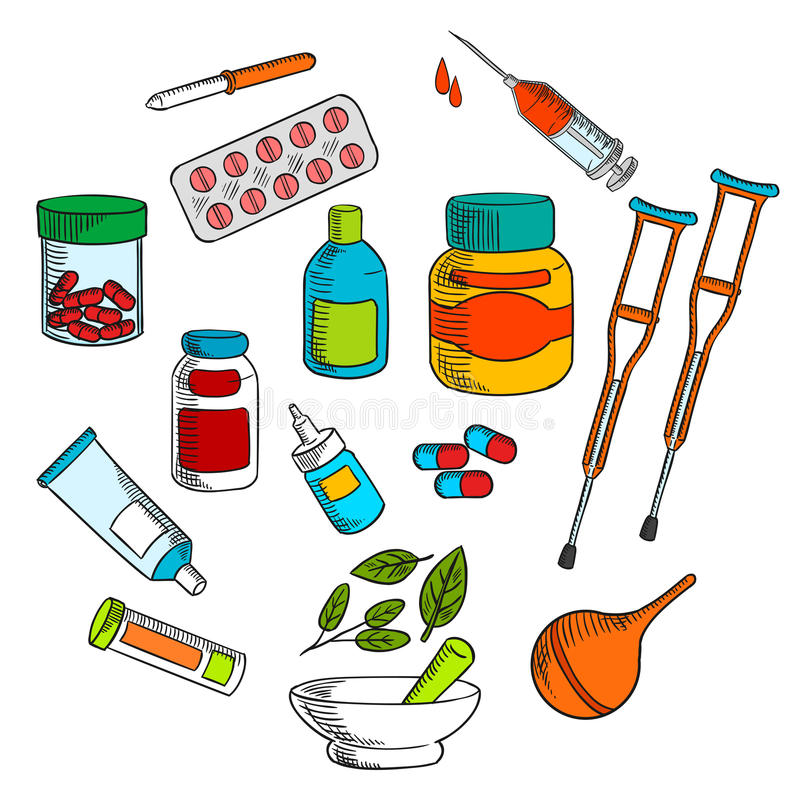 A medicina erval e convencional droga o esboço ilustração royalty free