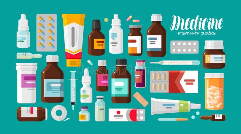 Medicina, farmacia, insieme dell'ospedale delle droghe con le etichette Farmaco, concetto dei prodotti farmaceutici Illustrazione illustrazione di stock