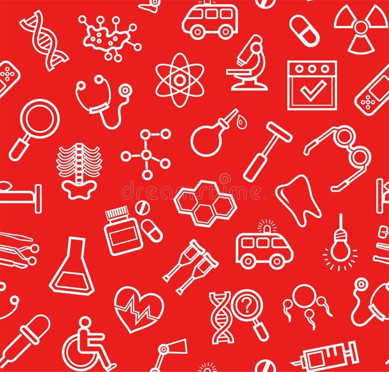 Medicina, fondo rojo, inconsútil, iconos del contorno, vector ilustración del vector