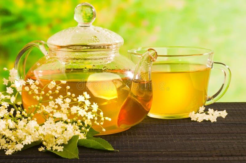 Medicina herbaria, té con una flor más vieja imagen de archivo