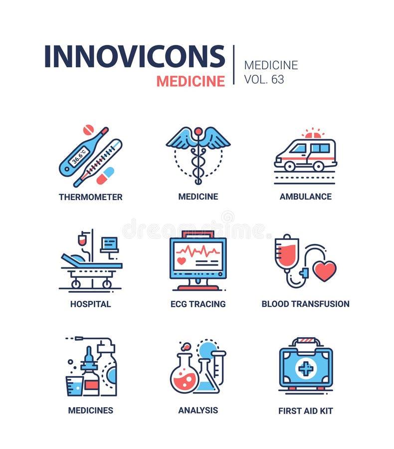 Medicina - linha ícones do projeto ajustados ilustração stock