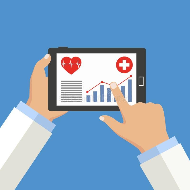 Medicina móvil, doctor en línea Mano que sostiene smartphone con el app médico stock de ilustración