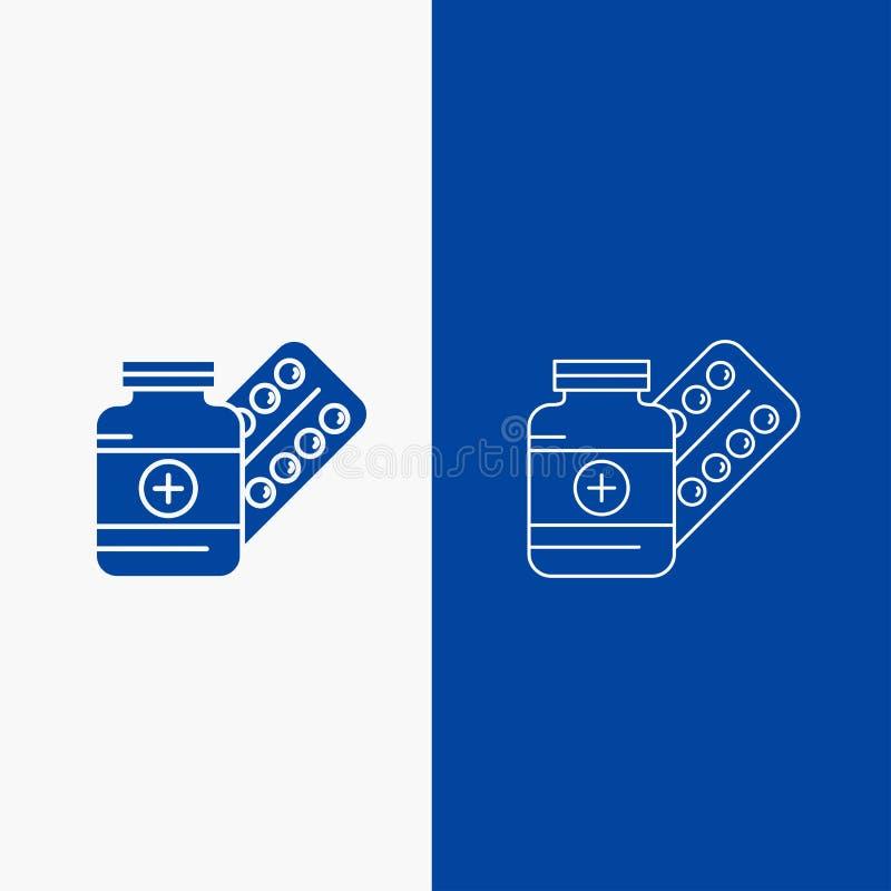 medicina, píldora, cápsula, drogas, botón de la web de la línea de la tableta y del Glyph en la bandera vertical del color azul p libre illustration