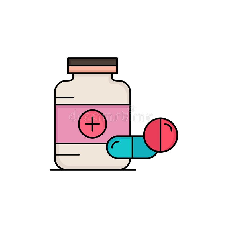 medicina, píldora, cápsula, drogas, vector plano del icono del color de la tableta imágenes de archivo libres de regalías