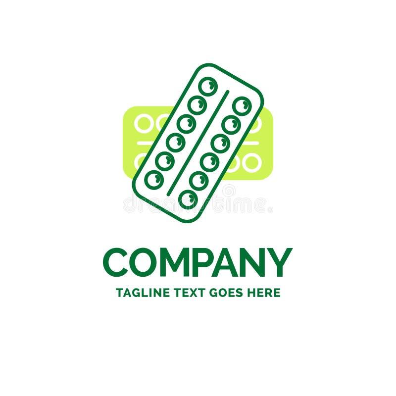 medicina, píldora, drogas, tableta, templa plano paciente del logotipo del negocio stock de ilustración