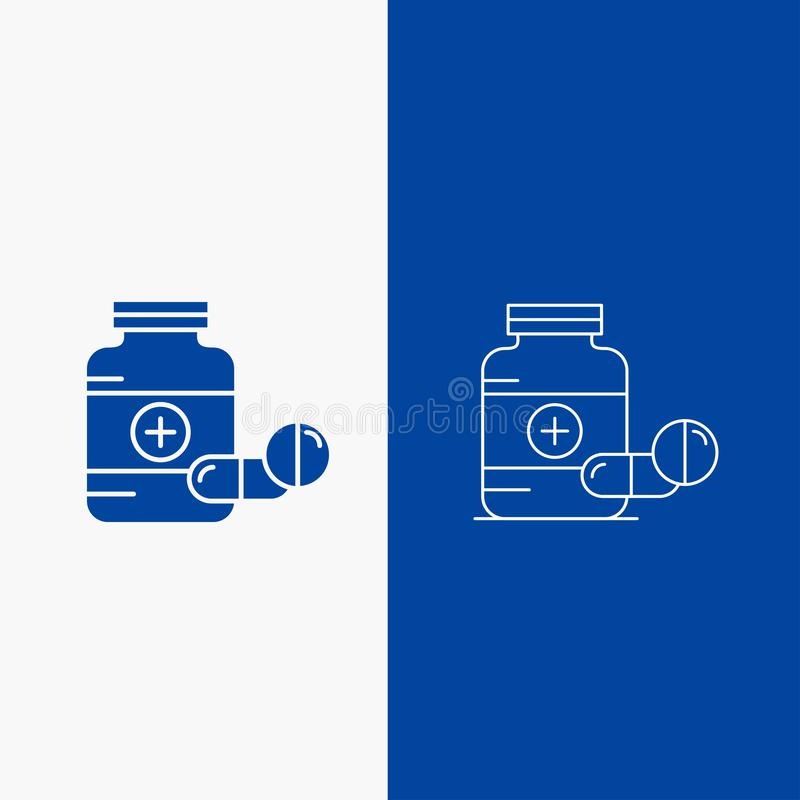 medicina, p?ldora, c?psula, drogas, bot?n de la web de la l?nea de la tableta y del Glyph en la bandera vertical del color azul p libre illustration