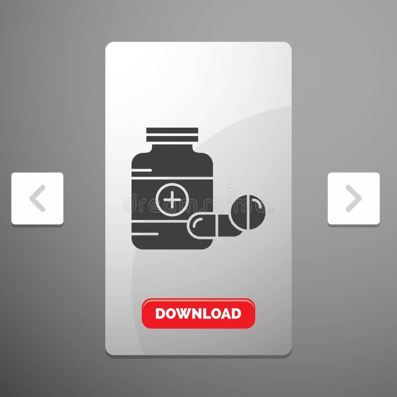 medicina, p?ldora, c?psula, drogas, icono del Glyph de la tableta en dise?o del resbalador de las paginaciones de la org?a y bot? ilustración del vector