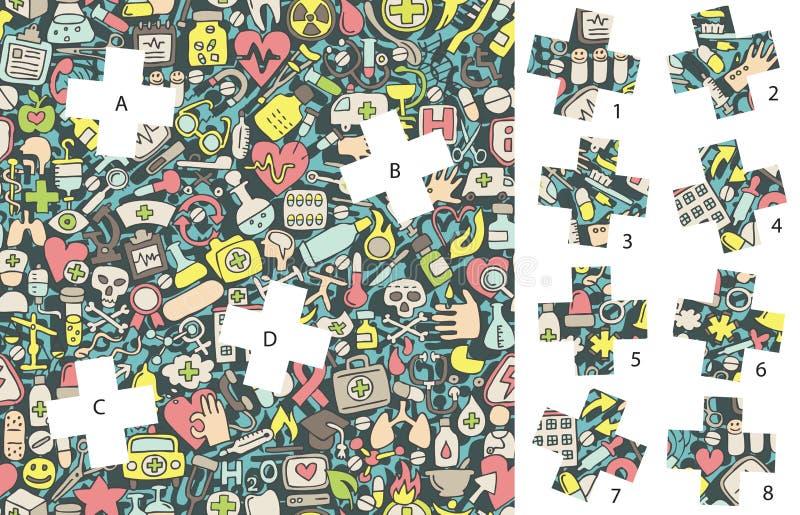 Medicina: Pezzi della partita, gioco visivo Soluzione nello strato nascosto! illustrazione vettoriale