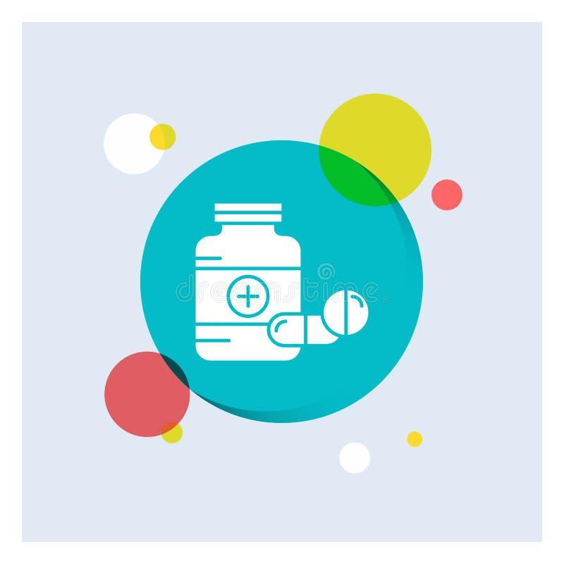 medicina, pillola, capsula, droghe, fondo variopinto del cerchio dell'icona bianca di glifo della compressa illustrazione vettoriale
