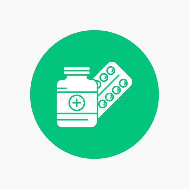 medicina, pillola, capsula, droghe, icona bianca di glifo della compressa nel cerchio Illustrazione del bottone di vettore illustrazione di stock