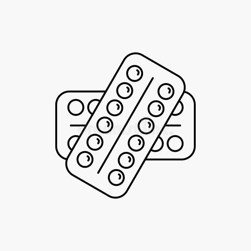 medicina, pillola, droghe, compressa, linea paziente icona Illustrazione isolata vettore illustrazione di stock