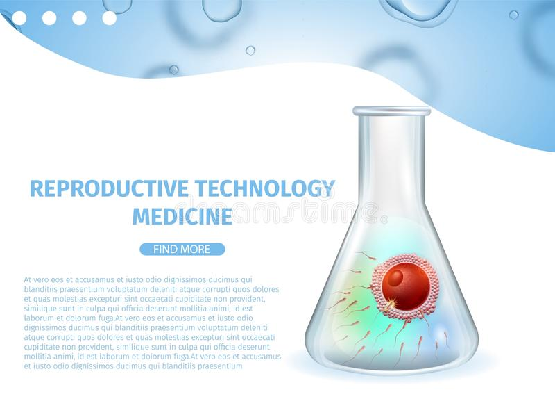 Medicina riproduttiva di tecnologia Insegna di IVF illustrazione vettoriale