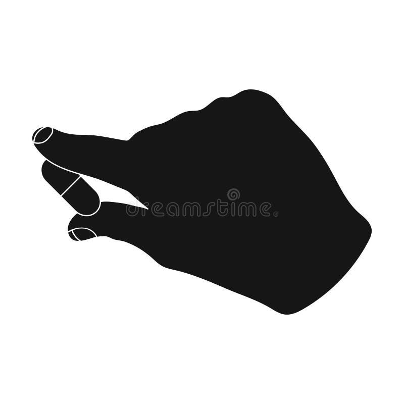 Medicina, una pillola nella mano del ` s di medico La medicina, singola icona della medicina nell'illustrazione nera delle azione illustrazione vettoriale