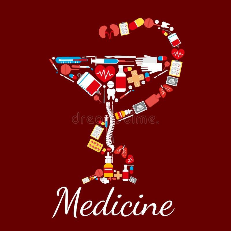 Medicinaffischbunke av det Hygieia symbolet stock illustrationer
