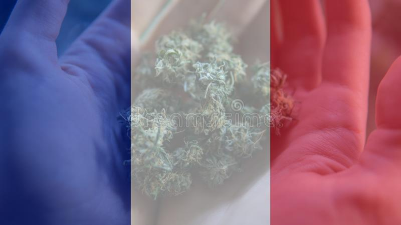 Nmedicinal cannabis use in France for recreational . France cannabis news in 2019 stock photo