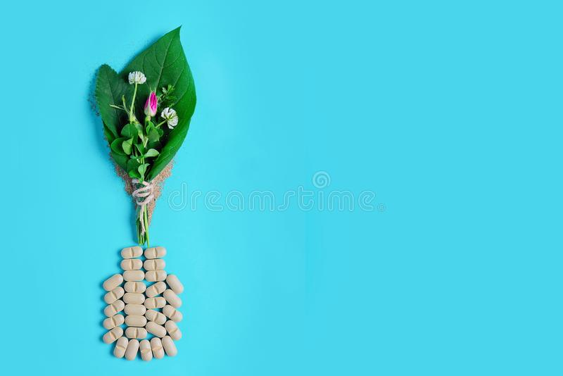 Medicinal herbs and natural tablets, medical bottle. Concept production of natural preparations and food supplements. Medicinal herbs and natural tablets stock photo