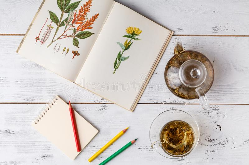 Medicinal herbs with recipe on wooden table. Flat lay royalty free stock photography