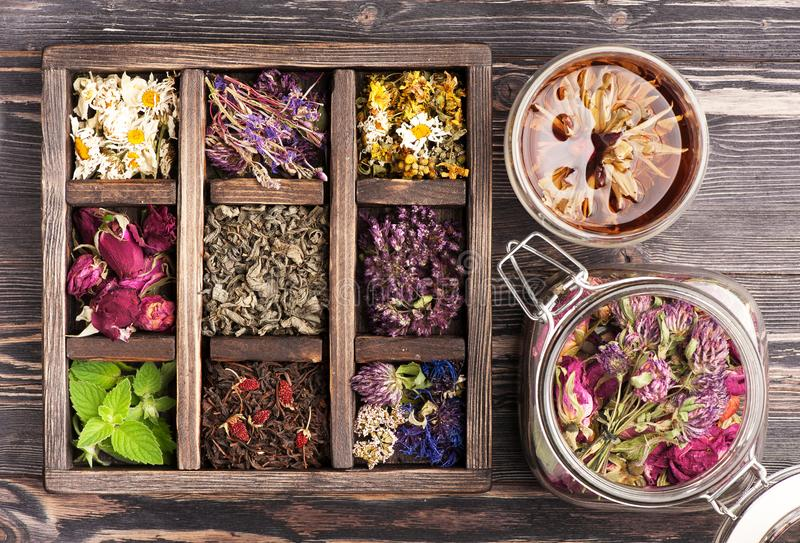 Medicinal herbs in a wooden box and a glass jar for herbal tea and tinctures. royalty free stock image
