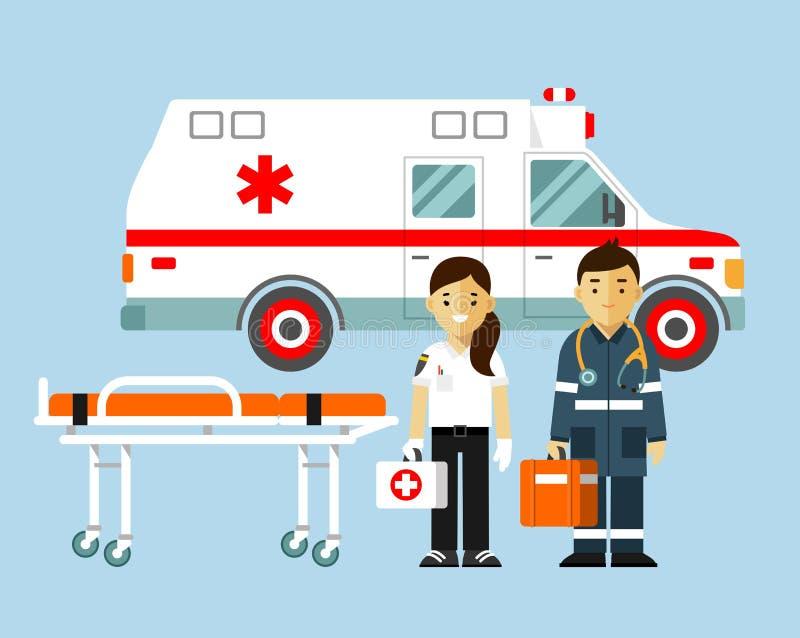 Medicinambulansbegrepp i plan stil som isoleras på blå bakgrund stock illustrationer