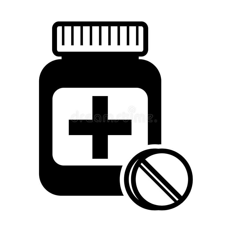 Medicinas, ícone dos comprimidos - ilustração stock