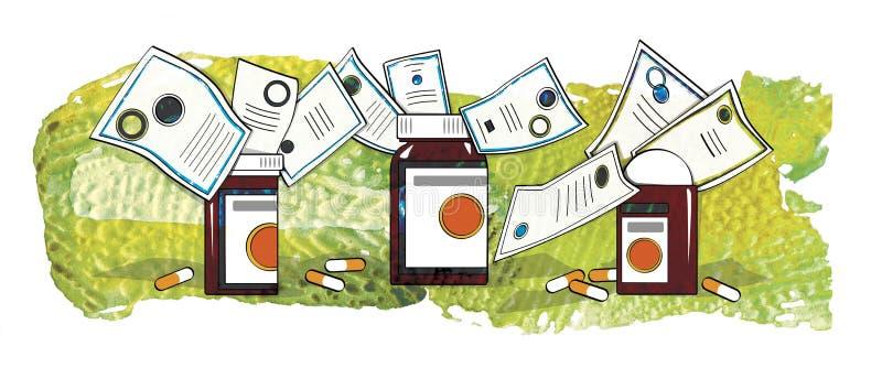 Medicinas certificadas Frascos y c?psulas con las medicinas en la tabla ilustración del vector