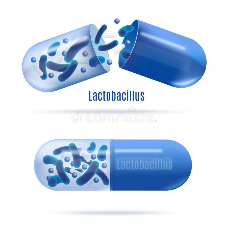 Medicinas con vector realista de las bacterias probióticas ilustración del vector