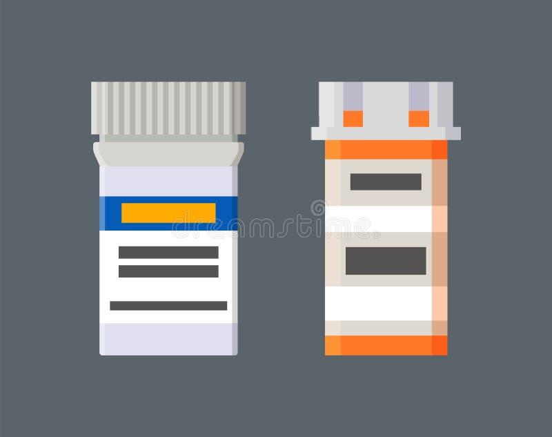 Medicinas en envases de plástico con el sistema de etiquetas ilustración del vector